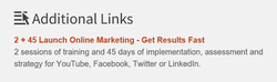 Figure 3 - Social Media Links and Landing Pages for Special Offers