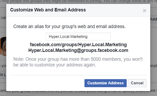 Custom web and email URL for Group