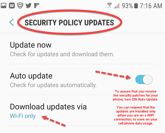 Samsung Galaxy 8 Security Policy Update Screen